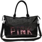 Grote dames Travel Bag pailletten schoudertas vrouwen handtas dames draagbare waterdichte tas (zwart)
