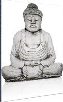 Stenen standbeeld van Boeddha Aluminium 60x90 cm - Foto print op Aluminium (metaal wanddecoratie)