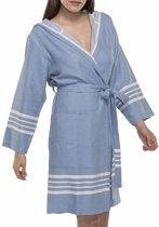 Hamam Badjas Sun Air Blue Met Capuchon - Maat L - korte sauna badjas met capuchon - korte ochtendjas - korte duster - dunne badjas - luxe badjas - dames badjas - badmantel