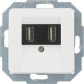 KOPP serie MILANO, dubbel USB-stopcontact, inbouw | wit