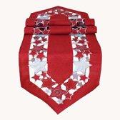 Kerst tafelkleed Rood met zilveren sterren - Loper 40 x 175 cm