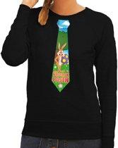 Paashaas stropdas vrolijk Pasen sweater zwart voor dames L