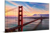Kleurrijke zonsondergang boven de Golden Gate Bridge in San Francisco Aluminium 120x80 cm - Foto print op Aluminium (metaal wanddecoratie)