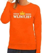 Oranje Wijntje met kroontje sweater dames XS