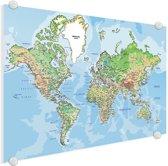 Wereldkaarten.nl - Wereldkaart op plexiglas wanddecoratie klein 40x30 cm