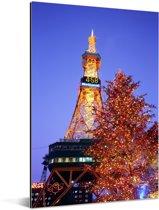 De bijzondere tv toren van Sapporo-shi Aluminium 60x90 cm - Foto print op Aluminium (metaal wanddecoratie)