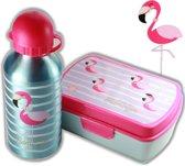 Flamingo broodtrommel + aluminium drinkfles Blauw   Lunchbox meisje LS11