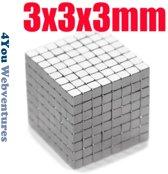 Vierkante neodymium magneetjes 100 stuks - 3 x 3 x 3 mm