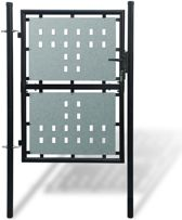 vidaXL Tuinpoort enkele deur zwart 100 x 200 cm