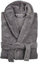 Héérlijk zachte badjas kronborg plus  gemaakt van 100% fleece grijs s/m