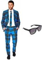 Heren kostuum / pak met Schotse print maat 56 (3XL) - met gratis zonnebril