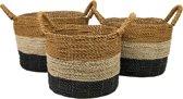 HSM Collection Mandenset - naturel/zwart/goud - raffia/zeegras - set van 3