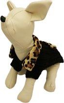 Gebreide trui zwart met strookje voor de hond - L ( rug lengte 30 cm, borst omvang 24 cm, nek omvang 22 cm )