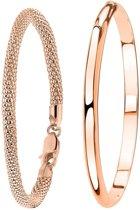 Lucardi - Zilveren set roseplated met twee armbanden