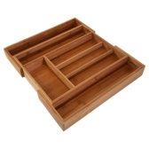 QUVIO Bestekbak organizer hout - verstelbaar 32.5-47cm - Houtkleur
