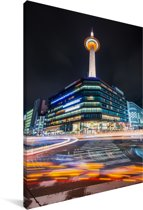 De Aziatische Kyoto toren in de nacht Canvas 20x30 cm - klein - Foto print op Canvas schilderij (Wanddecoratie woonkamer / slaapkamer) / Aziatische steden Canvas Schilderijen