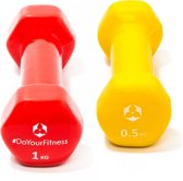 #DoYourFitness - 3kg (2x0.5kg 2x1kg) 100% ijzeren dumbbells - »Hexagon« - vinyl coating - In verschillende gewichtsklassen verkrijgbaar - rood/geel