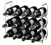Wijnrek - Stapelbaar wijnrek - Wijnrek 3 delig - Wijnrek voor 12 flessen - Metalen wijnrek