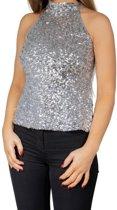 Zilveren glitter pailletten disco halter topje/ shirt dames - Zilveren glitter carnaval/ verkleed kleding L/XL (42-44)
