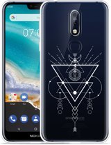Nokia 7.1 Hoesje Abstract Moon White