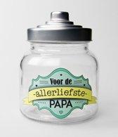 Snoeppot - Papa - Gevuld met verse snoepmix - In cadeauverpakking met gekleurd lint