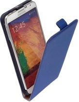 Lelycase Lederen Flip Case Cover HoesjeSamsung Galaxy Note 4 Blauw