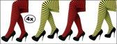 4x Panty streep geel/zwart en rood/zwart