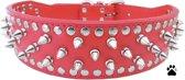 Honden halsband rood met spikes en studs 60 cm