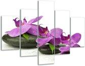 Glasschilderij Orchidee | Paars, Wit | 100x70cm 5Luik | Foto print op Glas |  F005796
