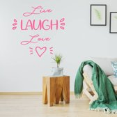 Muursticker Live Laugh Love Hartje -  Roze -  80 x 80 cm  - Muursticker4Sale