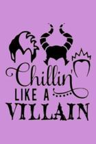 Chillin' LIKE A VILLAIN: Dot Grid Journal, 110 Pages, 6X9 inches, Disney Villains on Purple matte cover, dotted notebook, bullet journaling, le