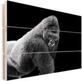 Een schitterende Gorilla kijkt naar beneden Vurenhout met planken 120x80 cm - Foto print op Hout (Wanddecoratie)