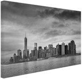 Manhattan New York in zwart-wit Canvas 30x20 cm - klein - Foto print op Canvas schilderij (Wanddecoratie woonkamer / slaapkamer)
