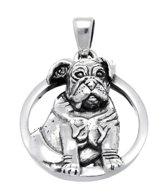 Zilveren Bulldog in cirkel kettinghanger