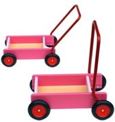 Loopwagen/blokkenkar roze Van Bueren 28x13x11 cm (66104)