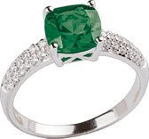 Classics&More - Zilveren Ring Met synthetische smaragd