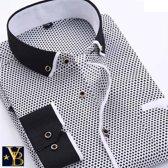 Wit overhemd met patroon en zwarte kraag