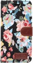Shop4 - iPhone Xr Hoesje - Wallet Case Denim Rozen Zwart