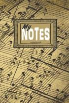 My NOTES notebook: a 6x9 college ruled LINED Gift Journal with music note background
