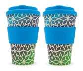 Ecoffee Cup Stargate - Bamboe Beker - 400 ml - met Blauw Siliconen - Set van 2