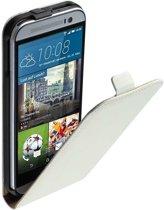 Lelycase Lederen Flip case case Telefoonhoesje HTC One M9 Wit