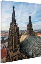 Twee Torens in Praag Canvas 20x30 cm - Foto print op Canvas schilderij (Wanddecoratie)