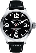 Nautica horlogeband A12561G Leder Zwart 24mm + wit stiksel