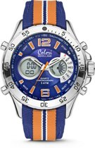 Colori Holland Sports 5 CLD133 Digitaal Horloge - Nylon Band - Ø 48 mm - Oranje / Blauw