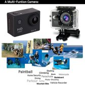 Zilveren Actie Camera  12MP 4k Ultra HD  + Extra accu + 44 in 1  Universeel Accessoires set GoPro Hero 3 4 SJCAM Rollei EKEN Action Cam set