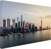 Shanghai skyline bij zonsondergang Canvas 30x20 cm - klein - Foto print op Canvas schilderij (Wanddecoratie woonkamer / slaapkamer) / Steden Canvas Schilderijen