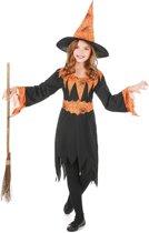 Oranje spinnenweb heksenkostuum voor kinderen - Verkleedkleding