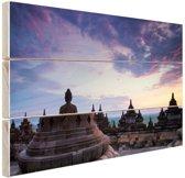 Borobudur bij zonsopkomst Hout 160x120 cm - Foto print op Hout (Wanddecoratie) XXL / Groot formaat!