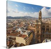 Skyline van de stad Málaga Canvas 80x60 cm - Foto print op Canvas schilderij (Wanddecoratie woonkamer / slaapkamer) / Europese steden Canvas Schilderijen