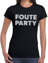 Foute Party zilveren glitter tekst t-shirt zwart dames - foute party kleding 2XL